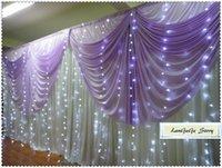 lavanda swag venda por atacado-Pure White back cortinas com lavanda swags e luz LED Decorações / Cortinas / Frete grátis / 10ft * 20ft / 3m * 6m / pode ser personalizado