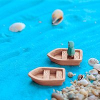 Wholesale Boat Models Wood - 2PC Set new resin craft Retro wood boat model Figure Toys micro garden Decoration ornaments terrariums miniature DIY accessories