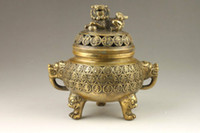 Wholesale Exquisite Chinese Carving - Exquisite Chinese Handmade Auspicious Dragon Brass Incense Burner