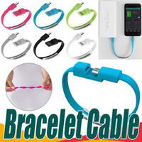 Wholesale Flat Wrist - Bracelet Micro USB Charger Cables Hand Wrist Fast Charging Data Sync Phone Cable Portable Flat Cord Universal For Samsung Android Smartphone