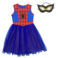 Wholesale Children Costume Character - 2 color Children Clothing Girls spiderman Party Dresses Kids Carnival Halloween Cosplay Costumes dress+ Mask 5pcs lot