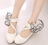 Wholesale Stylish Kids Shoes - New Girls Princess casual leather shoes Stylish High heels dancing shoes Spring fall children dress shoes for kids Flowers