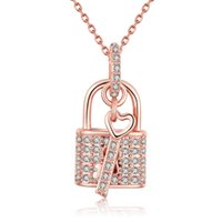 Key Lock Pendants Colar Rose Gold Plated Wedding Gift Crystal Cubic Zircon Jóias românticas cadeia 18 polegadas AKN014