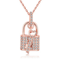 Wholesale 18 Key Jewelry - Key Lock Pendants Necklace Rose Gold Plated Wedding Gift Crystal Cubic Zircon Romantic Jewelry Chain 18 inch AKN014