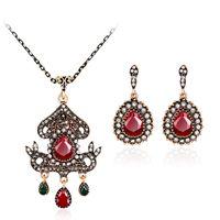 Wholesale vintage bridal rings - Vintage Turkish Jewelry Set Turquoise Flower Pendant Bridal Bracelet Ring Necklace Earring wedding jewelry sets maxi statement 162015