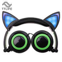 Wholesale Led Glow Wireless - 2017 cat ear headphone Foldable flashing glowing Headsets with LED light for apple iphone 7 plus 6S plus MP3 Cell phone Earphones