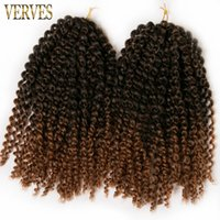 Wholesale Brown Hair Extentions - 6 pack brown crochet braids hair 60g pack synthetic 12 inch VERVES curly Marly Braid ombre braiding hair extentions