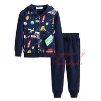 ingrosso vestiti di marina dei ragazzi-I più nuovi Pettigirl Kids Designer Clothes abbigliamento per bambini Navy Casual Boys Suit Cartoon Stampa Zipper Boy Clothes With Hood B-DMCS908-965