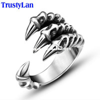 Wholesale dhgate New US Size Punk Rock Stainless Steel Mens Biker Rings Vintage Gothic Jewelry Silver Color Dragon Claw Ring Men