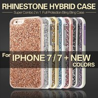 Wholesale Diamond Cellphone - New Diamond Hybrid 2 in 1 for iPhone 5 6 6s 7 Plus Phone Case Rhinestone Luxury Bling Back Cover CellPhone Cases Protection
