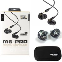 Wholesale Wholesale Pro Audio - MEE Audio M6 PRO Noise Canceling 3.5mm HiFi In-Ear Monitors Earphones with Detachable Cables Sports Wired Headphones Black Clear Colors DHL
