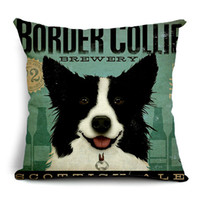 Wholesale Used Sofas - Free shipping bolster cover 45cm size cushion case pillow cover linen square dog pet printing cartoon decorative sofa bed public use