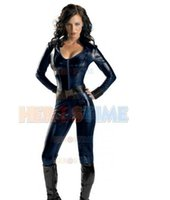 Wholesale Sexy Female Soldiers - (SUP126) The Winter Soldier Black Widow Female Superhero Costume Cosplay Zentai Halloween Party Costume With Cape