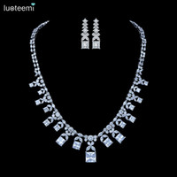 Wholesale Teardrop Choker Necklace - LUOTEEMI New Luxurious Jewelry Square Teardrop CZ Crystal Pendant Fashion Necklace Earrings Set for Women Bridal Wedding Accessories Choker
