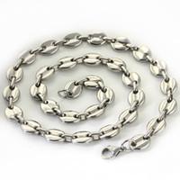 cadeias de ouro de 14k para venda venda por atacado-Navio livre 18 '' -32 '' escolher o comprimento de aço inoxidável prata grãos de café colar de corrente 9mm de largura brilhante para mulheres HOMENS jóias