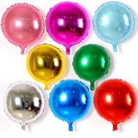 goldfarben-ballons großhandel-50 teile / los 18 zoll Einfarbig Runde Folienballon Geburtstag Hochzeit Reine Runde Helium Decor Balaos Liefert Kinder Spielzeug ball