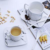 Wholesale Glazed Ceramic Coffee Mug - Marble grain mug sets drinkware water bottle ceramic cups kitchen dinnerware coffee mug with tray tea cups tea sets