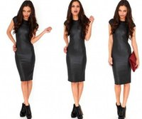 Wholesale tight dress casual lady - Fashion Women Bandage Dress Lady PU Dress Leather Short Sleeve Sexy Party Queen Bodycon O Neck Clubwear Midi Tight Black Casual Dress