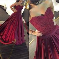 Wholesale Dresse Jackets - New Arrival 2017 Dark Purple Evening Dresses Sweetheart Sleeveless Lace Party Gowns Vestido De Festa Prom Dresse Robe De Soiree