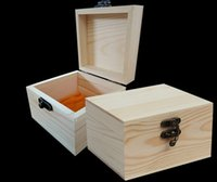 Wholesale Wooden Box Lock Wholesale - New Arrival zakka Paulownia Wood Small Wooden Box With Lid and Golden Lock Jewerally Storage Box Wedding Table Gift Box Xmas free shipping