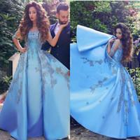 quinceanera ince sleeves elbiseler toptan satış-Vintage Açık Mavi Gelinlik Modelleri Arapça Dubai Seksi Sheer Yarım Kollu Appiqued Saten Örgün Abiye giyim Pageant Quinceanera Elbiseler