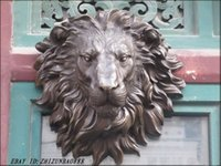 Wholesale Hanging Wall Carving - HUGE Western Art bronze Wall Hang decoration Lion King Animals Sculpture Garden Decoration 100% real Brass Bronze