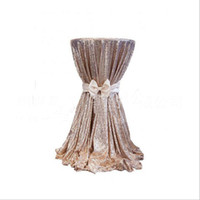 Wholesale square table cloths - 80*80cm Round Champagne Sequin Cloth Table Cloth Wholesale Table Cloths Sparkly sequin fabric Table Wedding Party Decoration