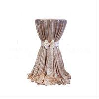 telas brillantes al por mayor-Fiesta de la boda del paño de tabla de la manera nuevo Bling de las lentejuelas de oro rosa de la boda ronda adornos de plata púrpura champán rosado vestido de tela roja