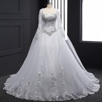 Wholesale Tube Top Dress Straps - Real Sample 2017 New Bandage Tube Top Crystal Luxury Wedding Dress 2017 Bridal gown wedding dresses Long sleeve bridal gowns