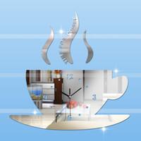 Wholesale Coffee Cup Clocks - Wholesale-Diy Hot 3d Acrylic Mirror Wall Clock coffee cup large clock modern design silent luxury 3d mirror clocks watch