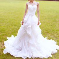 Wholesale Caught Up Wedding Dresses - Eye Catching Ball Gown Wedding Dresses Court Train Bridal Gowns Sweetheart Lace-up Back Organza Weding Dress with Hand Made Flower Sash