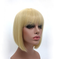 peinados de dama corta al por mayor-XT792 Lady GaGa Peinado de encaje lleno Pelucas de cabello humano Rubio recto corto Bob con flequillo Sin cola para Mujeres blancas Peluca sintética