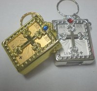 Wholesale English Bible Rings - English Silver Gold Frame Christian Gospel Christmas Gifts Crafts Mini Bible Keychain God Day School Supplies Prizes Key Ring