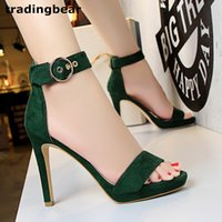 Sexy ladies gladiator sandals one strappy green high heel shoes micro synthétique suède 6 couleurs taille 34 à 39