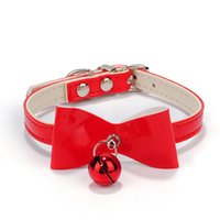 Wholesale New Arrival Dog Collars Pets Accessories Bells Necktie Dogs Cats Adjustable Neck Collars Black Red Pink Color Sizes Available