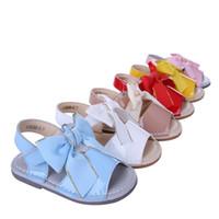zapatos nuevos sandalias niños al por mayor-Pettigirl 2017 New Girl Sandalia de cuero de microfibra Bowtie Princess Shoes Sandalias de playa para niños Zapatos para niños pequeños A-KSG005-02 Sin caja de zapatos