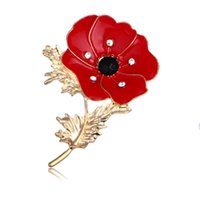 flowers jewellery 2018 - Wholesale Poppy Brooch Banquet Enamel Jewellery Remembrance Day Gifts Crystal Red Poppy Flower Lapel Pins Brooches Broach Badge