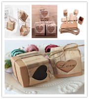 Wholesale Twine For Food - 50pcs Heart Candy Box Vintage Wedding Gifts For Guests Kraft Boxes With Rustic Burlap Twine Wedding Favors Decoration