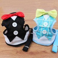 Wholesale Bowtie For Dogs - New Fashion Bowtie Tuxedo Dog Harness & Leash Set Easy Walk Mesh Vest Harness For Boy Dogs Black Blue S M L WA1902