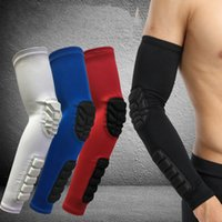 Wholesale Cycling Arm Sleeves Warm - Wholesale- Arm Sleeve Support Honeycomb Elbow Pad Breathable Crashproof Support Protector Guards Basketball Cycling Arm Warmer Sport Safety