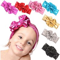 Wholesale Big Pink Hair Bow Headband - Wholesale- Children hair band Metallic Messy Big Bow baby Girls Headband Cloth Turban Knot Hairband kids Wrap Hair Accessories 6 colours