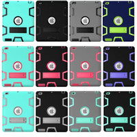 Kickstand Armor Hybrid Hard PC + Silicone Case 3 em 1 Defensor resistente a choques para Ipad 2 3 4 Air 2 Ipad6 Tablet Skin Cover 50pcs