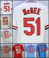 2017 Flexbase St. Louis # 51 Willie McGee Home Jersey Jersey Crema Rosso Blu Grigio Bianco Nero Pullover Cool Base Stitched