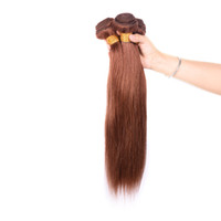 Wholesale Indian Remy Weave Shedding - Brazilian Straight Human Hair Weave Unprocessed Remy Hair Extensions Light Brown 4# color 100g pc Can be Dyed No Shedding Tangle Free