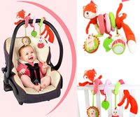 Wholesale Iq Baby Toys - Wholesale- Animal Fox Style Newborn Infant Baby IQ Development Plush Toys Bed Stroller Car Hanging Playing Toy Musical Kids Rattles Mobiles