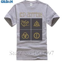 Wholesale soft cock sleeve - Led Zeppelin Logo Tshirts for Men Cock Rock Short Sleeves Crew-neck Soft Cotton Custom Print T-shirts Male UK Band Tees Shirt
