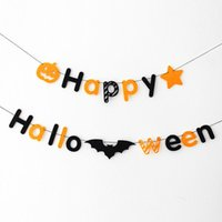 Wholesale Holloween Props - Wholesale- 200cm pcs holloween banner fabric Happy Halloween Skull garland photo background decorative photo props HalloweenParty