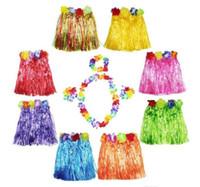 Wholesale Hula Skirt Costume - 30cm Hula Grass Skirt + 4pc Lei Set for Child Luau Fancy Dress Costume Party Beach Flower Garland Set