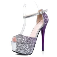 Wholesale Sexy Blue Prom Shoes - Fashion Sexy Summer Peep Toe Women Sandals Sequined Blingbling Gradient Color Platform High Heel PROM Party Woman Shoes