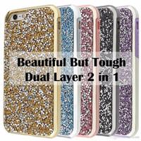 Wholesale Premium Skin Case - Premium Bling Luxury 2 in 1 Case Glitter Diamond Rhinestone Back Cover TPU+PC Skin Phone Cases For iPhone 8 7 5 6 6S Plus Sumsung S8 S8plus